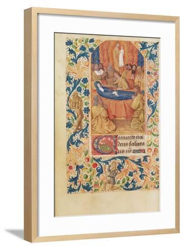 Ms Latin 13305 Fol.88V the Death of the Virgin, from 'Heures a L'Usage De Rome', C.1465-Jean Fouquet-Framed Art Print