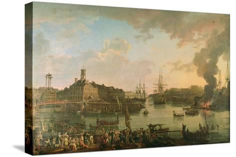 View of the Port of Brest from the Covered Docks in 1795, 1795-Jean-Francois Hue-Stretched Canvas Print