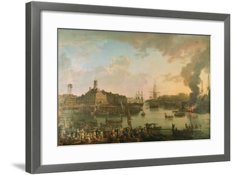 View of the Port of Brest from the Covered Docks in 1795, 1795-Jean-Francois Hue-Framed Art Print