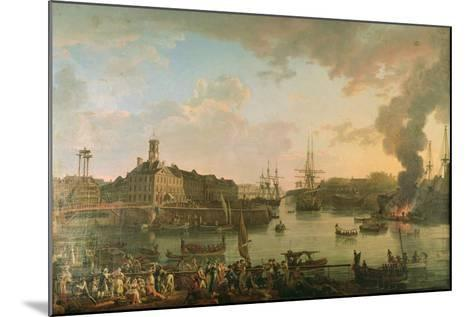 View of the Port of Brest from the Covered Docks in 1795, 1795-Jean-Francois Hue-Mounted Giclee Print