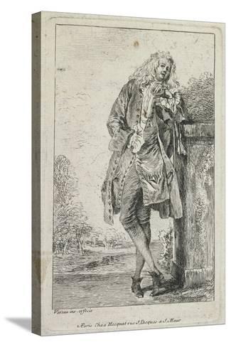 Figures De Mode: Homme Debout Acconde-Jean Antoine Watteau-Stretched Canvas Print