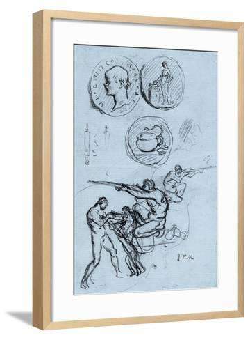 Three Studies for Antique Coins, Hunters, and a Man with a Lion-Jean-Francois Millet-Framed Art Print