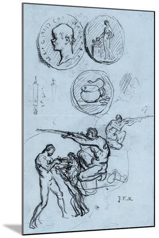 Three Studies for Antique Coins, Hunters, and a Man with a Lion-Jean-Francois Millet-Mounted Giclee Print