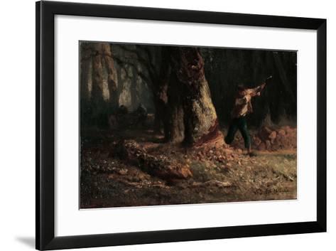 Woodcutter in the Forest-Jean-Francois Millet-Framed Art Print