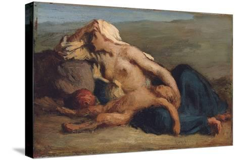 Hagar and Ishmael-Jean-Francois Millet-Stretched Canvas Print