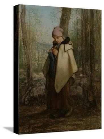 The Knitting Shepherdess, 1856-57-Jean-Francois Millet-Stretched Canvas Print