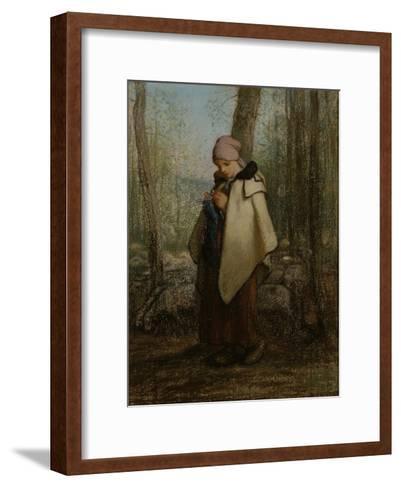 The Knitting Shepherdess, 1856-57-Jean-Francois Millet-Framed Art Print