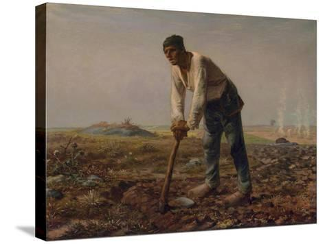 Man with a Hoe, C.1860-62-Jean-Francois Millet-Stretched Canvas Print