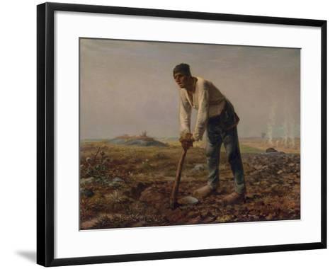 Man with a Hoe, C.1860-62-Jean-Francois Millet-Framed Art Print