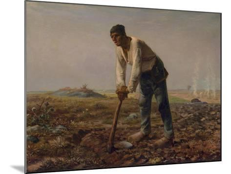 Man with a Hoe, C.1860-62-Jean-Francois Millet-Mounted Giclee Print