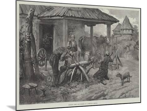 Shoeing Oxen and Horses at a Servian Smithy-Johann Nepomuk Schonberg-Mounted Giclee Print