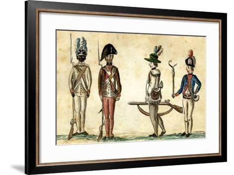Soldiers in Uniform, 1781-84-Jean Baptiste Antoine de Verger-Framed Art Print