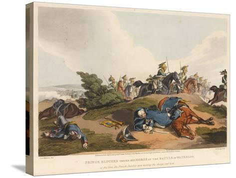 Prince Blucher under His Horse at the Battle of Waterloo-John Augustus Atkinson-Stretched Canvas Print