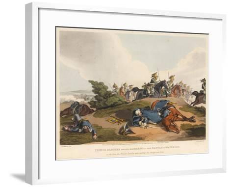 Prince Blucher under His Horse at the Battle of Waterloo-John Augustus Atkinson-Framed Art Print