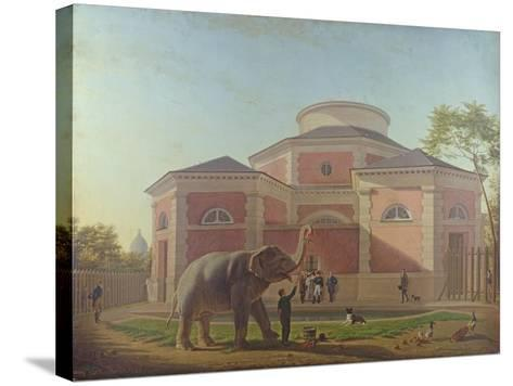 The Duc and Duchesse De Berry Visiting the Elephant at the Jardin Des Plantes in Paris, 1817-Jean Baptiste Berre-Stretched Canvas Print