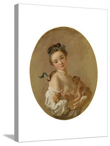 Young Girl Holding Two Puppies, C.1770-Jean-Honore Fragonard-Stretched Canvas Print