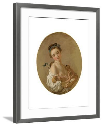 Young Girl Holding Two Puppies, C.1770-Jean-Honore Fragonard-Framed Art Print