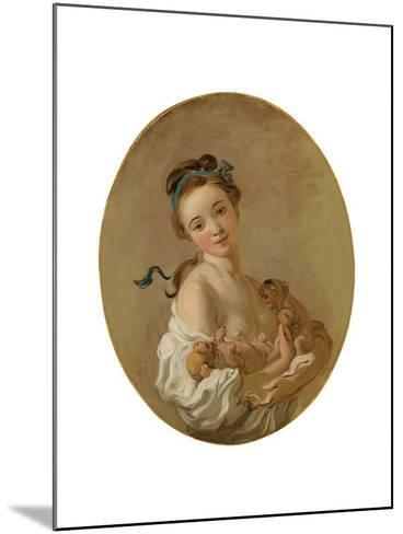 Young Girl Holding Two Puppies, C.1770-Jean-Honore Fragonard-Mounted Giclee Print