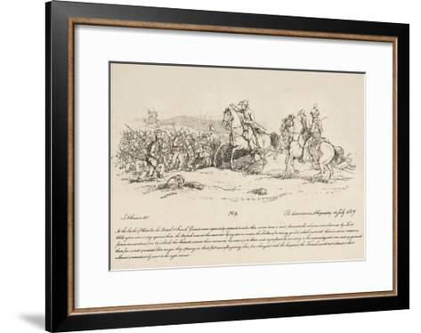 Wellington Directing a Charge of the Guards Against a Column of French at Waterloo-John Augustus Atkinson-Framed Art Print
