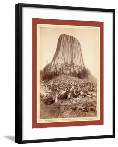 Devil's Tower. from West Side Showing Millions of Tons of Fallen Rock. Tower 800 Feet High from its-John C. H. Grabill-Framed Art Print