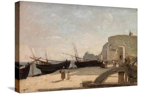 The Beach, Etretat, 1872-Jean-Baptiste-Camille Corot-Stretched Canvas Print