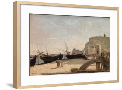 The Beach, Etretat, 1872-Jean-Baptiste-Camille Corot-Framed Art Print