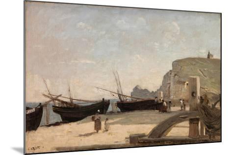 The Beach, Etretat, 1872-Jean-Baptiste-Camille Corot-Mounted Giclee Print