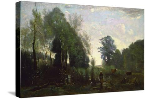 Misty Morning, C.1865-Jean-Baptiste-Camille Corot-Stretched Canvas Print