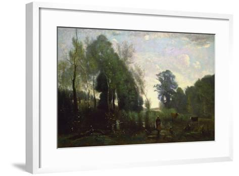 Misty Morning, C.1865-Jean-Baptiste-Camille Corot-Framed Art Print