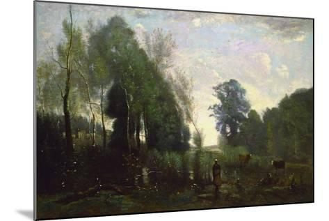 Misty Morning, C.1865-Jean-Baptiste-Camille Corot-Mounted Giclee Print
