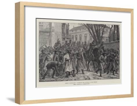 Riots in Bucharest, Dispersing the Rioters in the Streets-Johann Nepomuk Schonberg-Framed Art Print