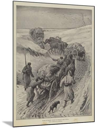 Russia in Poland, Convoy of Forage on the Vistula-Johann Nepomuk Schonberg-Mounted Giclee Print