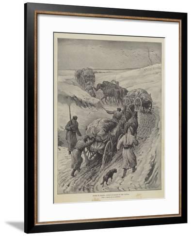 Russia in Poland, Convoy of Forage on the Vistula-Johann Nepomuk Schonberg-Framed Art Print