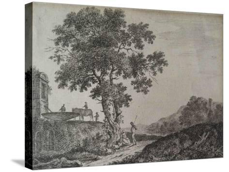 Italian Landscape, Etched by C. G-Jean-Baptiste Antoine Tierce-Stretched Canvas Print