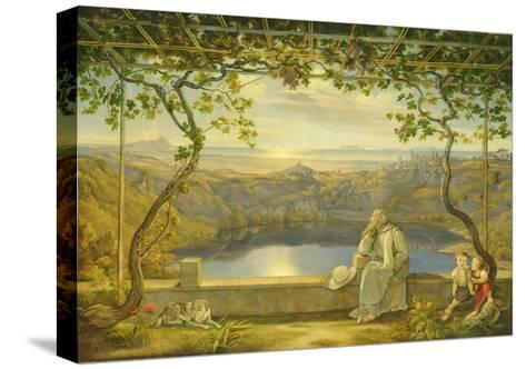 A Monk on a Terrace at the Nemi Lake, 1818-Joachim Faber-Stretched Canvas Print