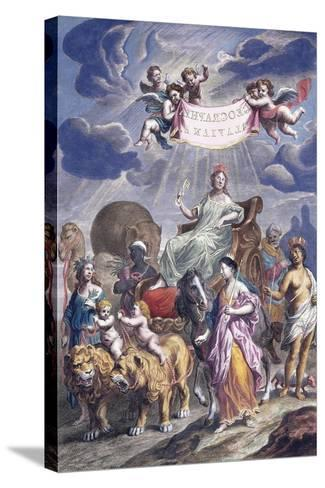 An Allegorical Plate with Title-Joan Blaeu-Stretched Canvas Print