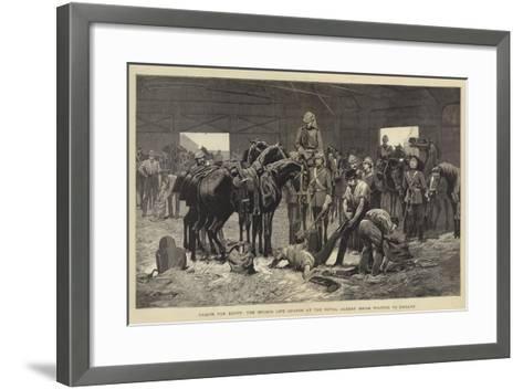 Troops for Egypt, the Second Life Guards at the Royal Albert Docks Waiting to Embark-John Charlton-Framed Art Print