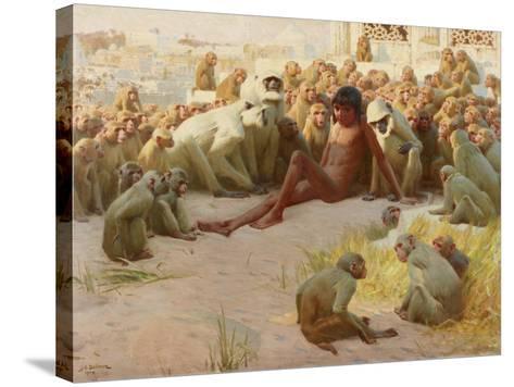 Mowgli Made Leader of the Bandar-Log, 1918-John Charles Dollman-Stretched Canvas Print