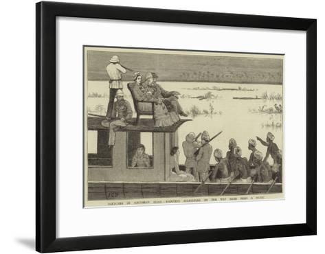 Sketches in Southern India, Shooting Alligators on the Way Home from a Picnic-John Charles Dollman-Framed Art Print