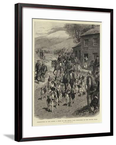 Foxhunting in the North, a Meet of the North Tyne Foxhounds on the Border Hills-John Charlton-Framed Art Print