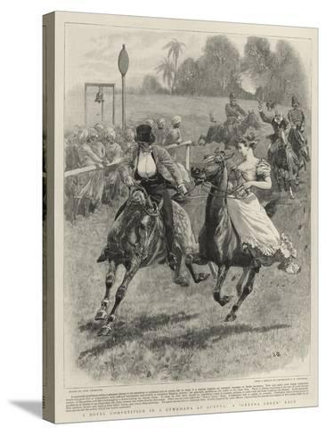 A Novel Competition in a Gymkhana at Quetta, a Gretna Green Race-John Charlton-Stretched Canvas Print