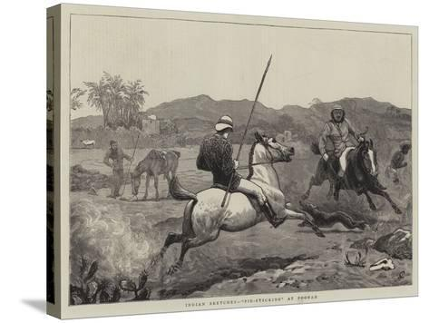 Indian Sketches, Pie-Sticking at Poonah-John Charlton-Stretched Canvas Print