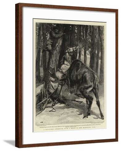A Squatter's Adventure with a Moose in New Hampshire, USA-John Charlton-Framed Art Print
