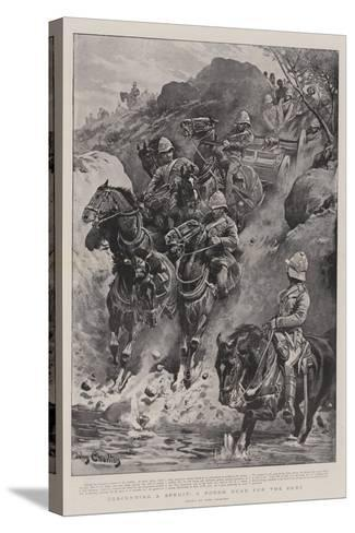 Descending a Spruit, a Rough Road for the Guns-John Charlton-Stretched Canvas Print