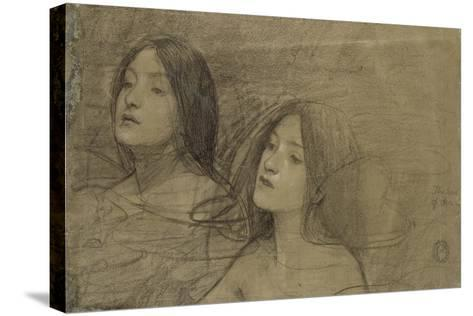 Study of Two Nymphs for 'Hylas and the Nymphs'-John William Waterhouse-Stretched Canvas Print