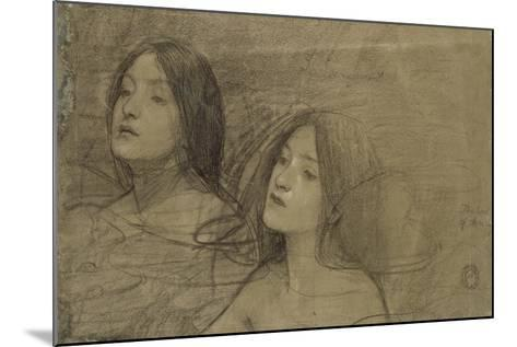 Study of Two Nymphs for 'Hylas and the Nymphs'-John William Waterhouse-Mounted Giclee Print