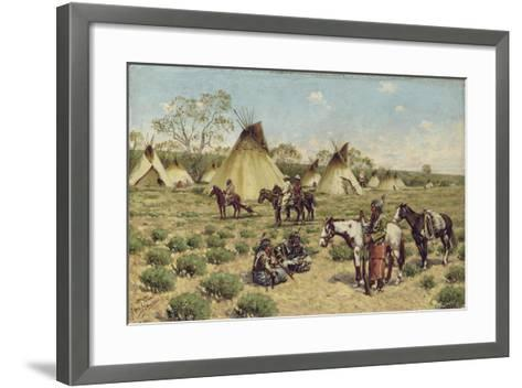Sioux Encampment, Porcupine, 1910-John Hauser-Framed Art Print