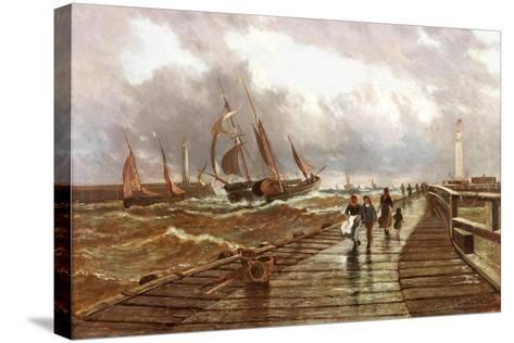 Sunderland Piers, 1843, 1886-John James Syer-Stretched Canvas Print
