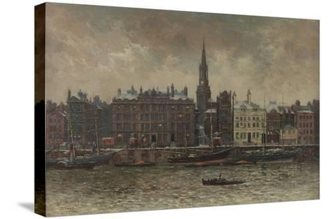 Quayside, Newcastle Upon Tyne, 1886-John Wallace-Stretched Canvas Print