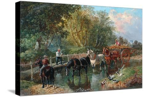 Crossing the Stream-John Frederick Herring Jnr-Stretched Canvas Print